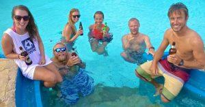 Enjoying a well earned tusker in Ocean Sports pool